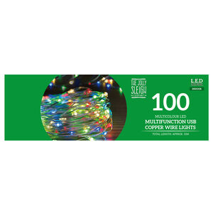 100 Multicolour LED USB Copper Wire Lights