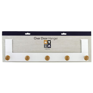 5 Hook Over Door Hanger with Wooden Handles