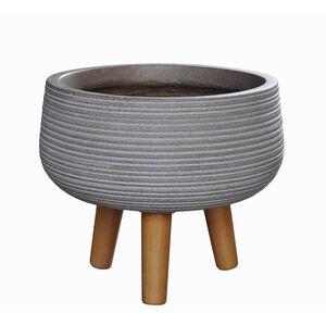 Large Circles Pedestal Fibre Clay Plant Pot