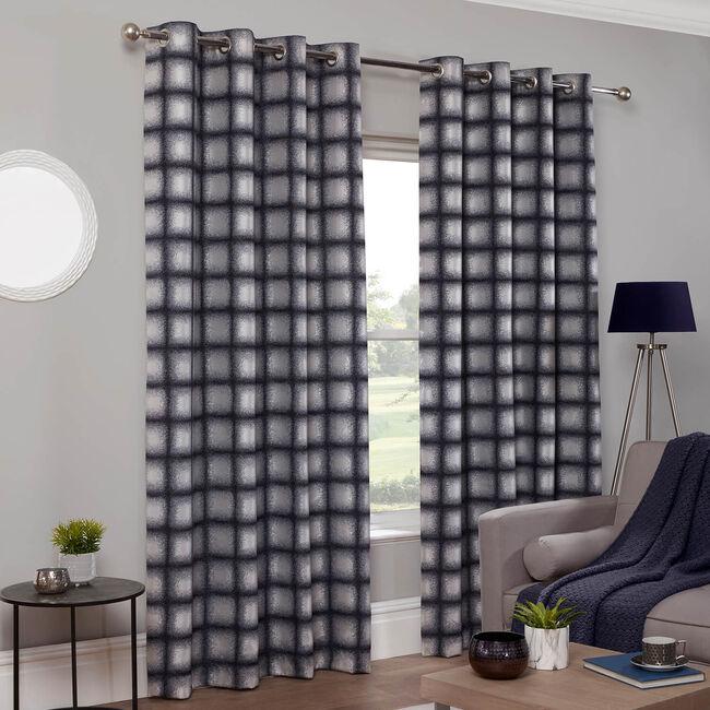GRIDLOCK NAVY 66x54 Curtain