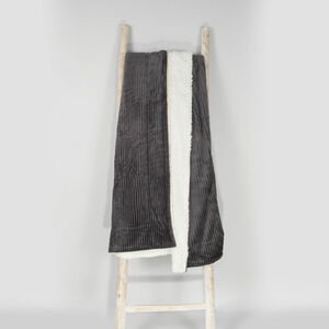 Ruane Cord Sherpa Throw 130 x 170cm - Charcoal