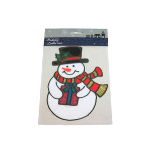 Snowman with Present Glitter Window Stickers
