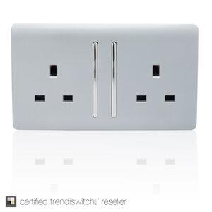 Trendi 13 Amp 2 Gang Switched Socket - Silver