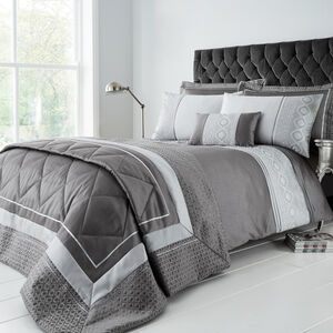 DOUBLE DUVET COVER Luxury Geo Silver