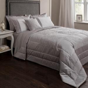 Glitter Rose Silver Bedspread