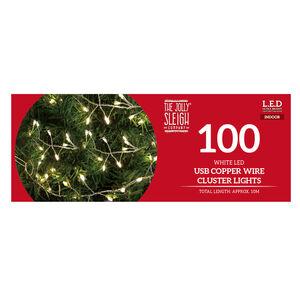 100 Bright White Cluster LED USB Copper Wire Light