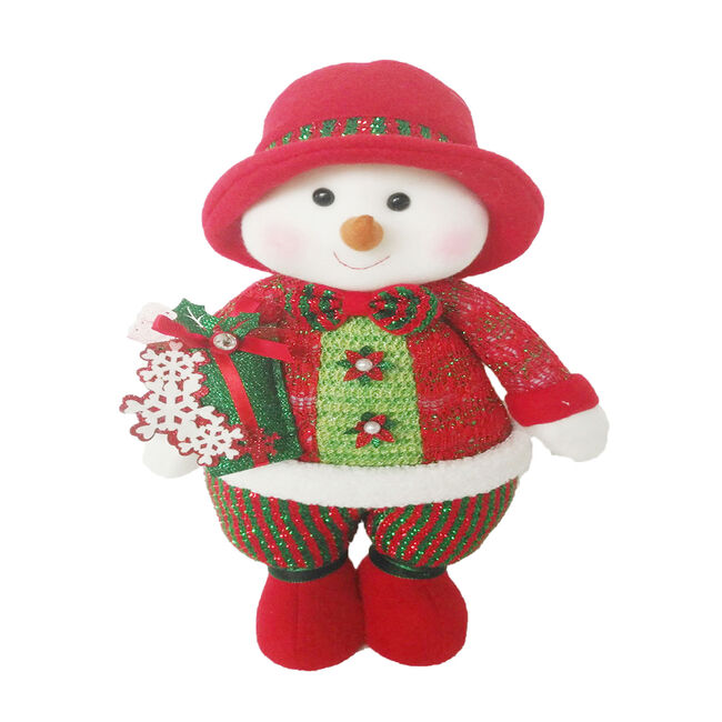 Red and Green Standing Snowman 15""