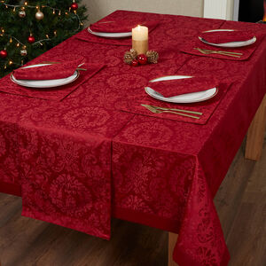 DAMASK MEDALLION RED 160x183cm Table Cloth