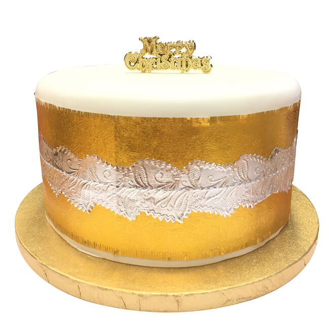 White Silver and Gold Cake Frills