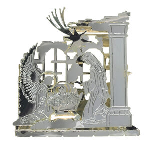 3D Silver Nativity Scene Tree Decoration
