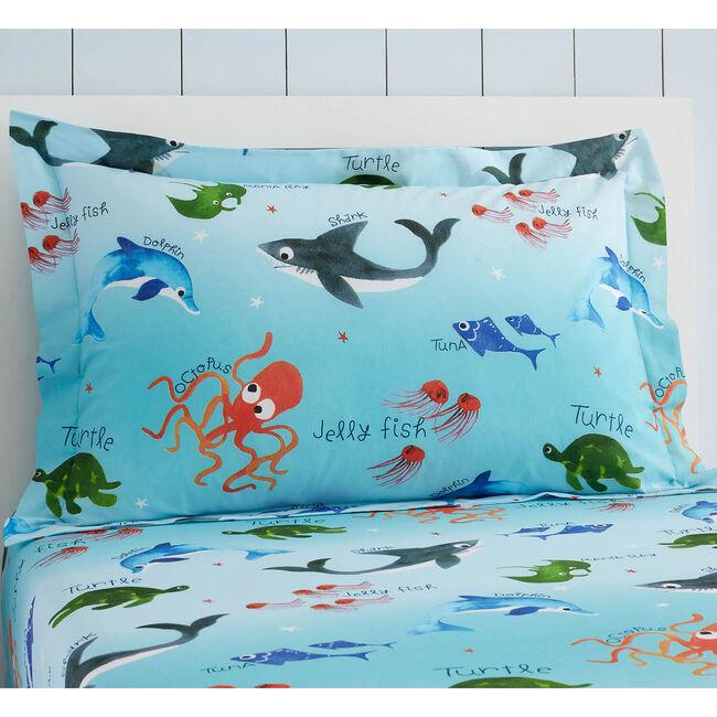 Shark Splash Oxford Pillowcase Pair - Blue