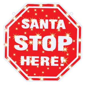 Santa Stop Here Lightup Silhouette