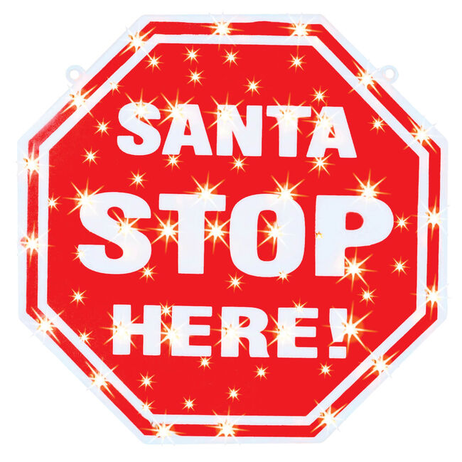 Santa Stop Here Lightup Silhouette