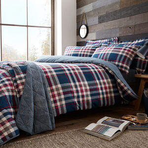 SINGLE DUVET COVER Brushed Cotton Boothman Check