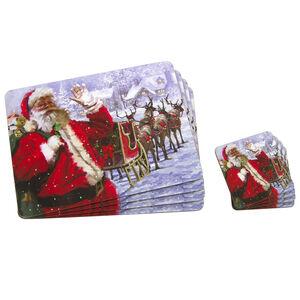 Santa & Sleigh Mats & Coasters 4Pk