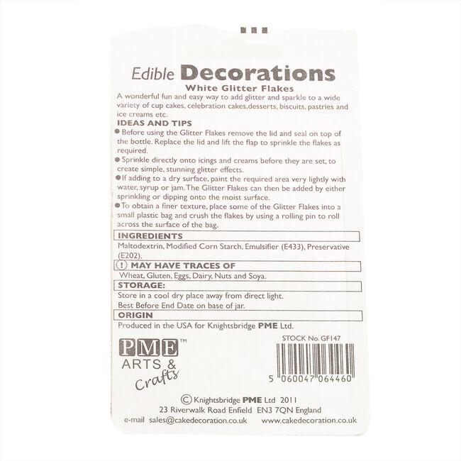 PME Edible Glitter Flakes 7.1g - White
