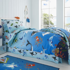 JUNIOR BED DUVET COVER Shark Splash
