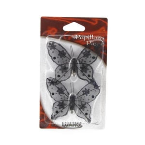 Butterfly Black Curtain Clips 2 Pack