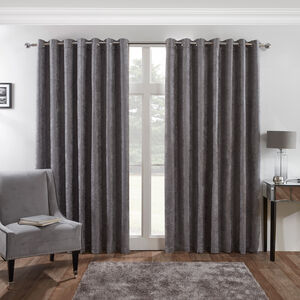 Blackout & Thermal Herringbone Curtains - Deep Charcoal