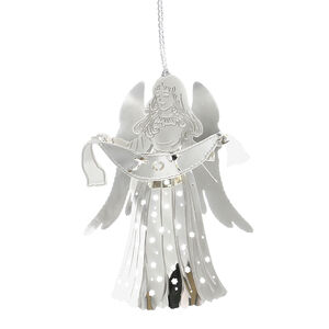 3D Hanging Silver Joy Angel Tree Decoration