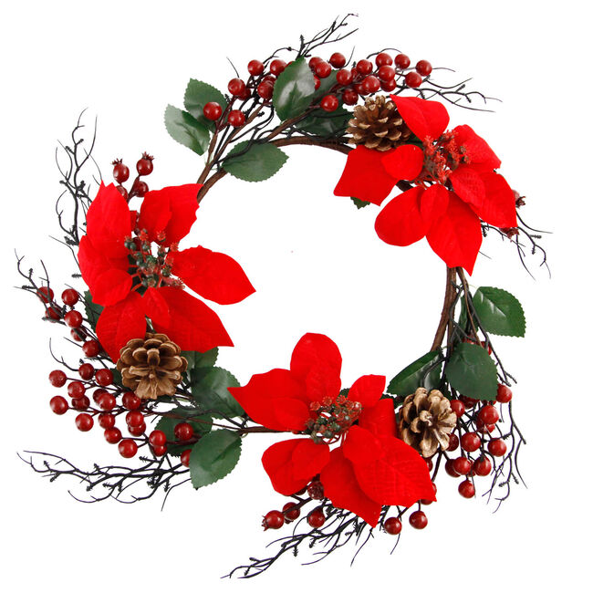 Mini Christmas Berry & Poinsettia Wreath
