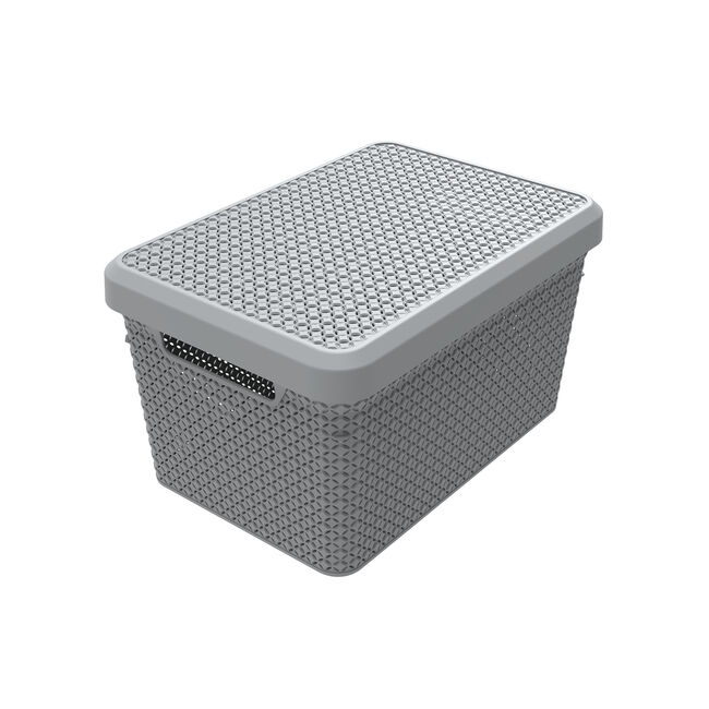Ezy Mode 17.3L Lidded Basket Stone Grey