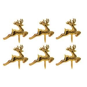 Golden Reindeer Cake Picks 6Pk