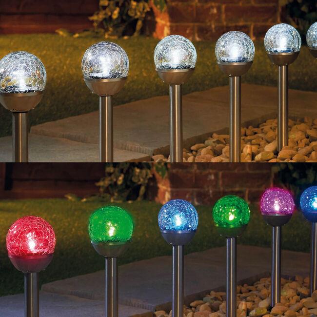6 Mini Crackle Ball Post Solar Lights