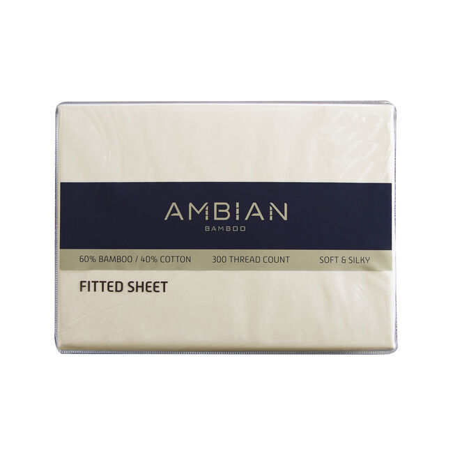 DOUBLE FITTED SHEET 300Tc Bamboo/Ctn Cream