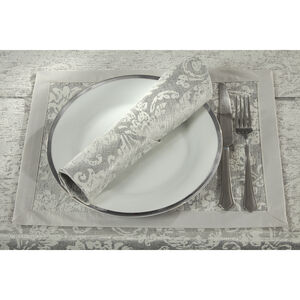 Damask Medallion Silver Placemat 2PK