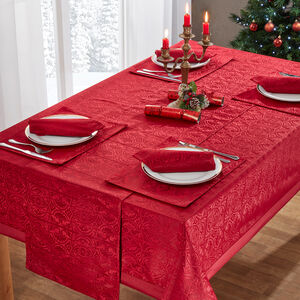 Gatsby Damask Table Cloth Red 160 x 183cm