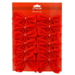 Red Velvet Bows Decoration - 12 Pack