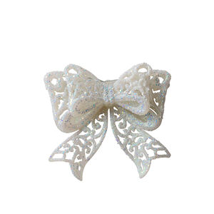 Glitter Christmas Bow Tree Decoration - White