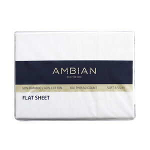 DOUBLE FLAT SHEET 300Tc Bamboo/Ctn White