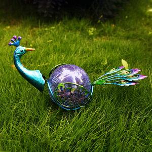 Peacock Crackle Ball Solar Light