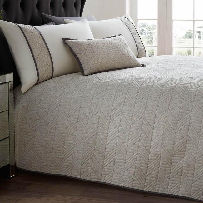 Linen Geo Charcoal Bedspread 200x220cm