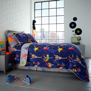 Dance Moves Bedspread 200 x 220cm - Navy