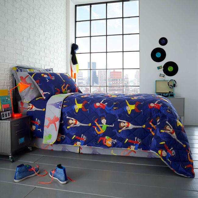 Dance Moves Bedspread 200 x 220cm - Navy