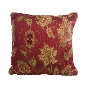 Chenille Floral Red Cushion 45cm x 45cm
