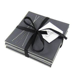 Reversible Leather Grey Diamond Coasters 4 Pack