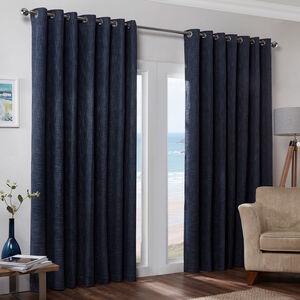 Blackout & Thermal Basketweave Curtains - Blue Navy