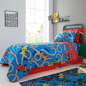 Racing Cars Bedspread 200 x 220cm - Red