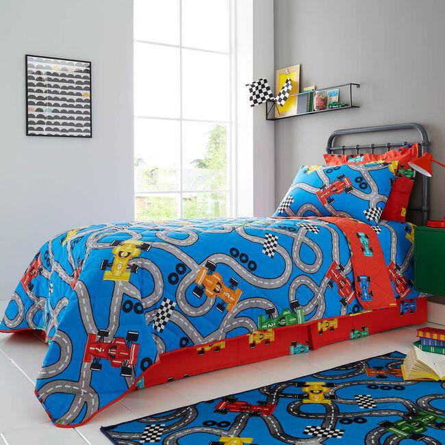 Racing Cars Bedspread 200 x 220cm - Red