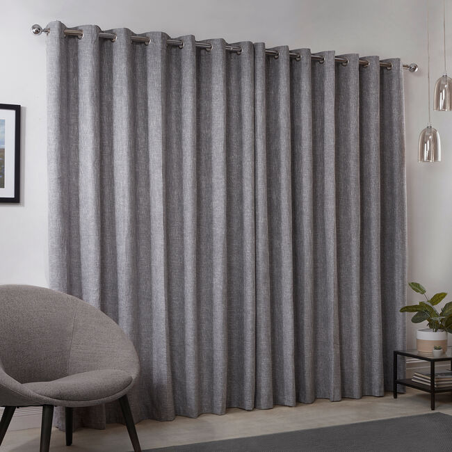 BLACKOUT & THERMAL BASKETWEAVE GREY 90x72 Curtain