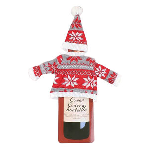 Christmas Jumper and Hat Wine Bottle Cover