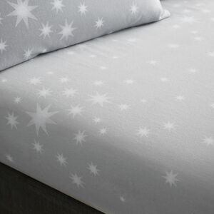 BRUSHED COTTON STARS GREY King Fitted Sheet