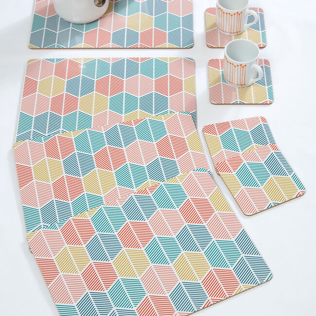 Griffen Teal Mats & Coasters 4 Pack