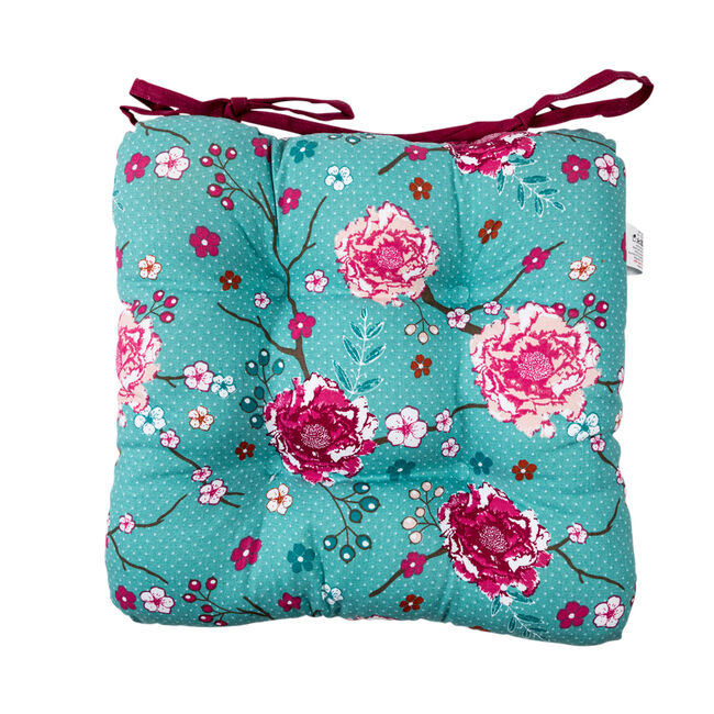 Floral Admiration Teal Kitchen Seat Pad