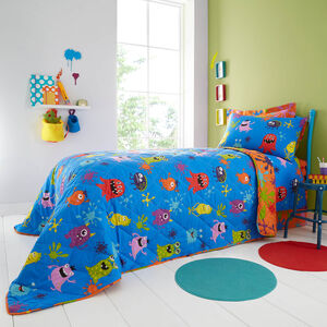Monster Mania Bedspread 200 x 220cm - Blue