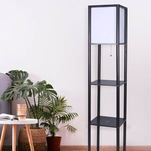 Floor Lamp with Shelves 1.6m - Black